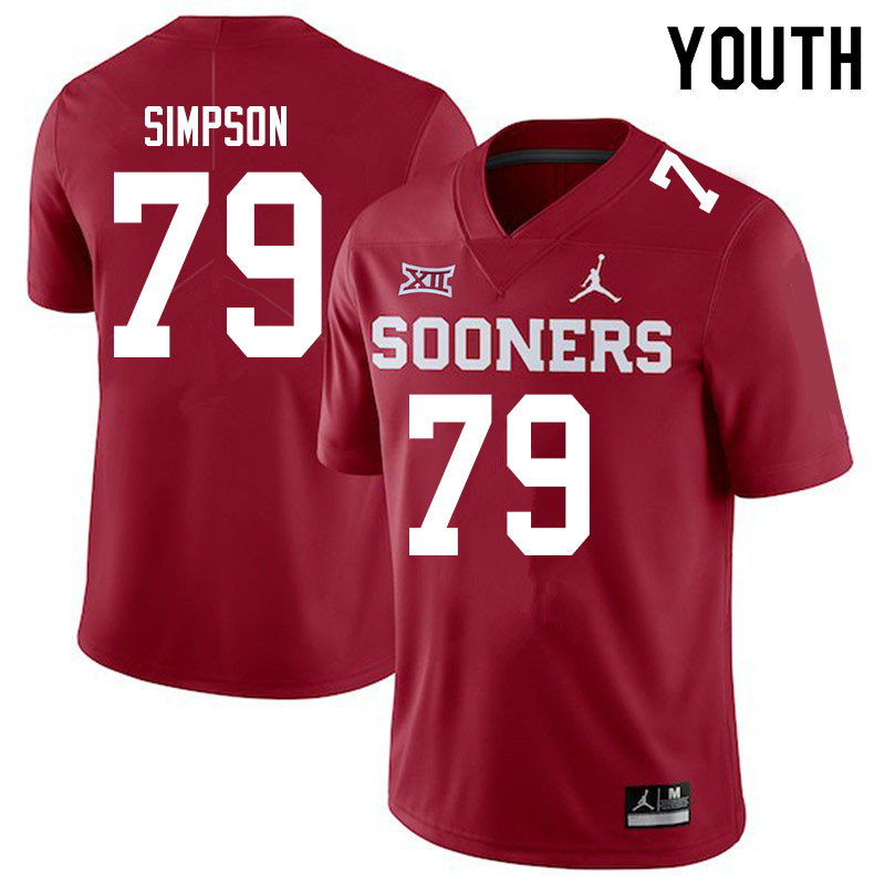 Youth #79 Darrell Simpson Oklahoma Sooners Jordan Brand College Football Jerseys Sale-Crimson