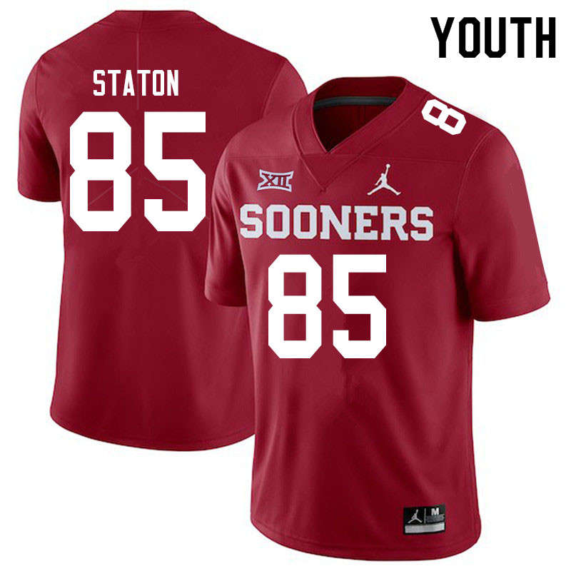 Youth #85 Devin Staton Oklahoma Sooners Jordan Brand College Football Jerseys Sale-Crimson
