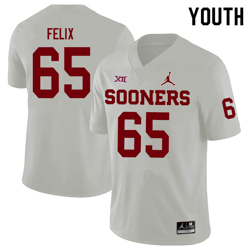 Youth #65 Finley Felix Oklahoma Sooners Jordan Brand College Football Jerseys Sale-White