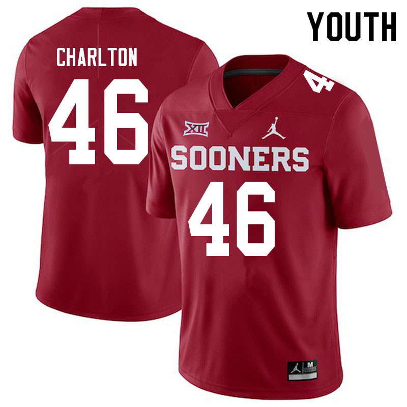 Youth #46 Robert Charlton Oklahoma Sooners Jordan Brand College Football Jerseys Sale-Crimson