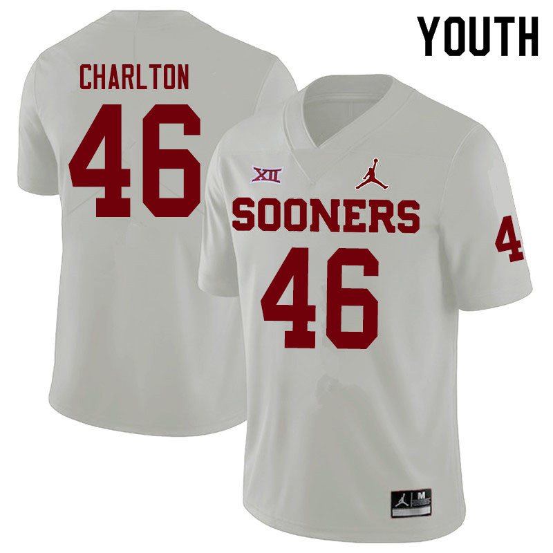 Youth #46 Robert Charlton Oklahoma Sooners Jordan Brand College Football Jerseys Sale-White