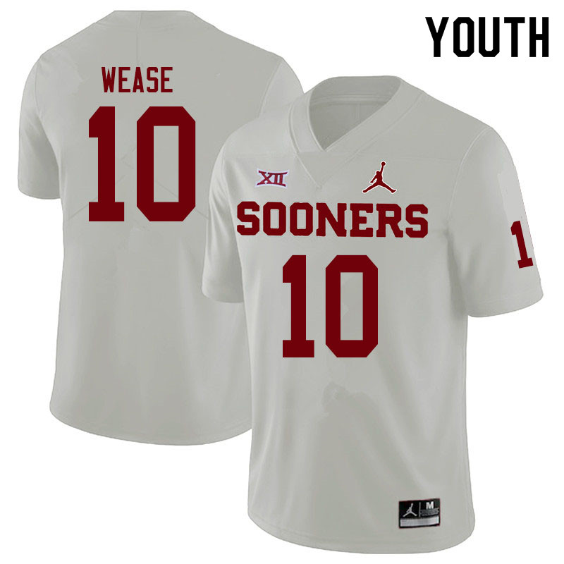 Youth #10 Theo Wease Oklahoma Sooners Jordan Brand College Football Jerseys Sale-White