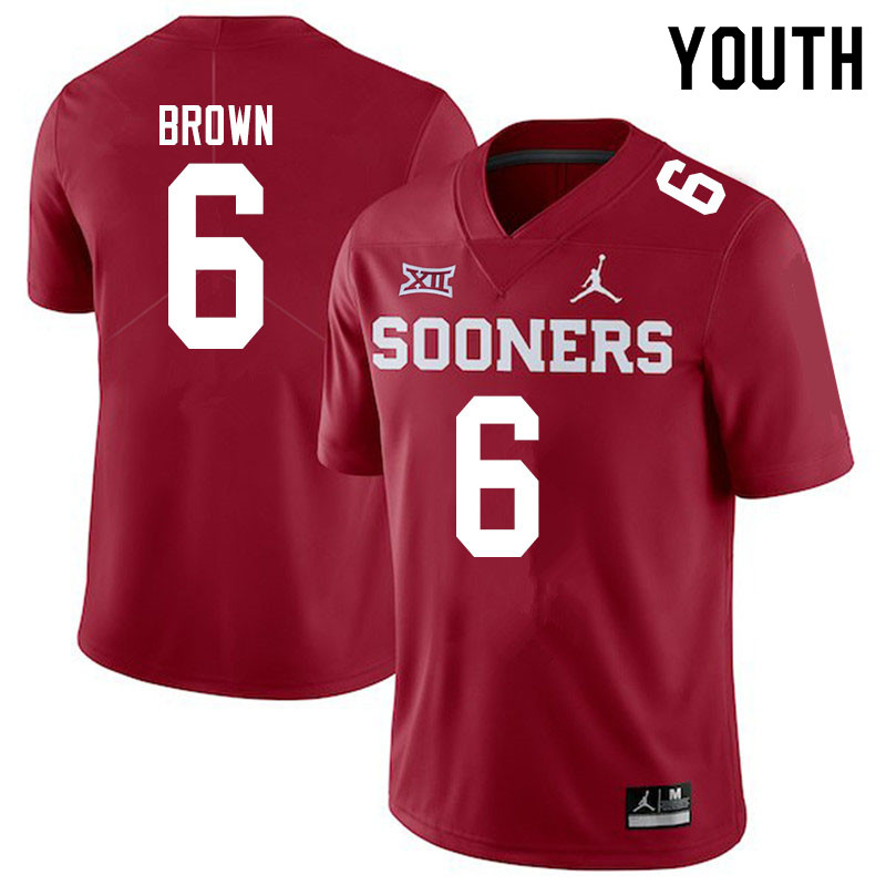 Youth #6 Tre Brown Oklahoma Sooners Jordan Brand College Football Jerseys Sale-Crimson