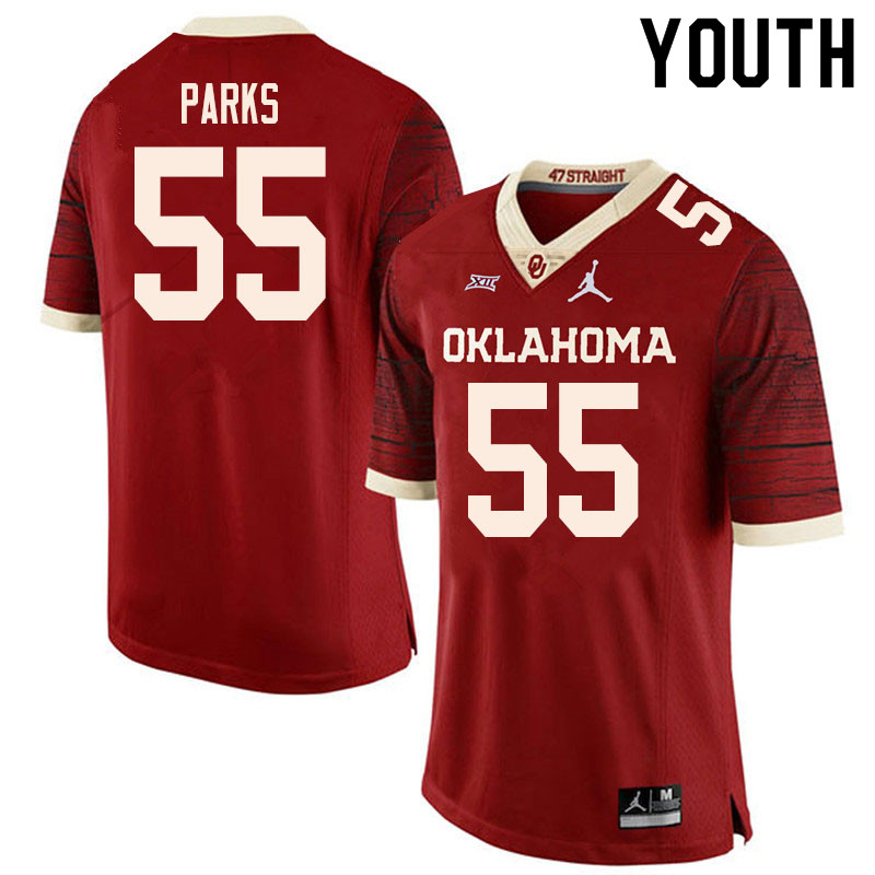 Youth #55 Aaryn Parks Oklahoma Sooners College Football Jerseys Sale-Retro
