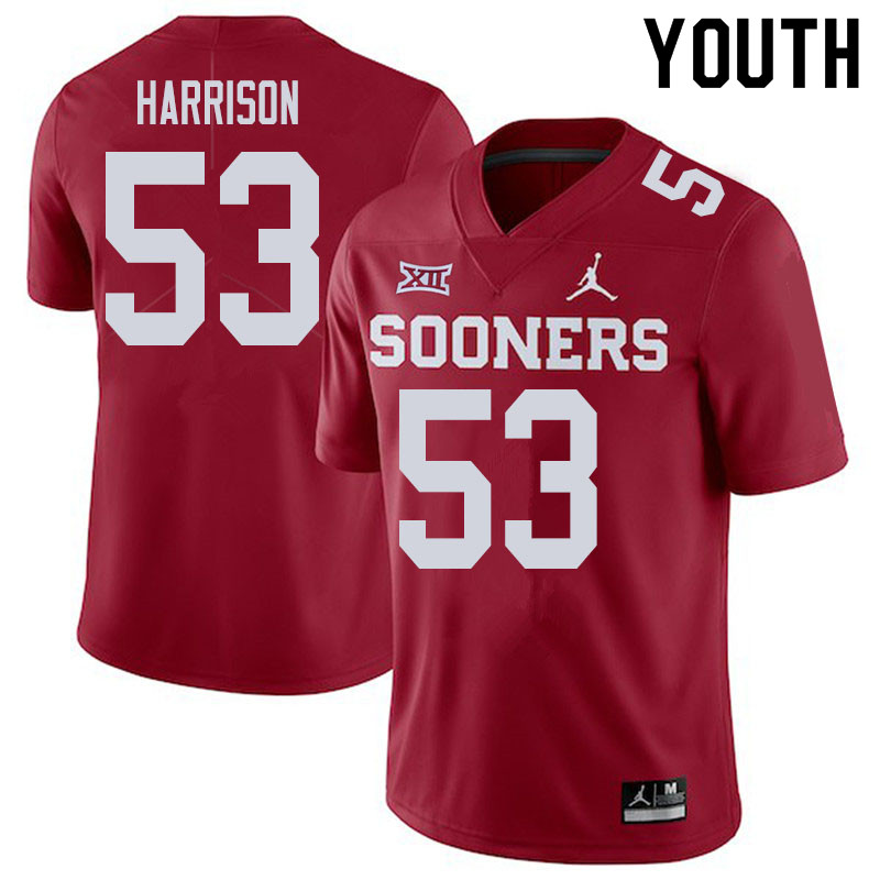 Youth #53 Anton Harrison Oklahoma Sooners College Football Jerseys Sale-Crimson