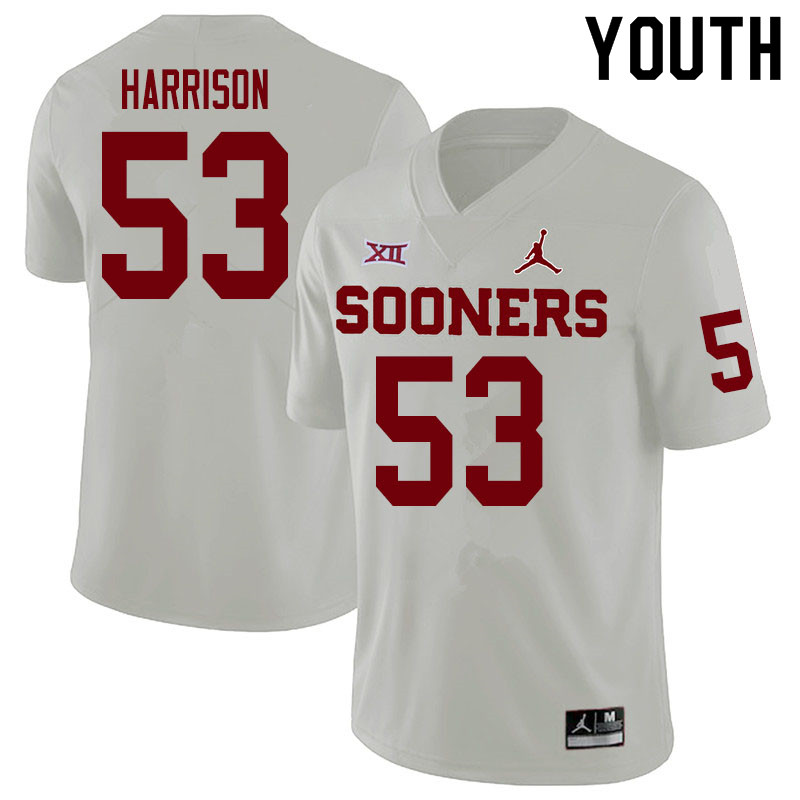 Youth #53 Anton Harrison Oklahoma Sooners College Football Jerseys Sale-White