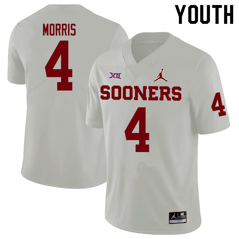 Youth #4 Chandler Morris Oklahoma Sooners College Football Jerseys Sale-White