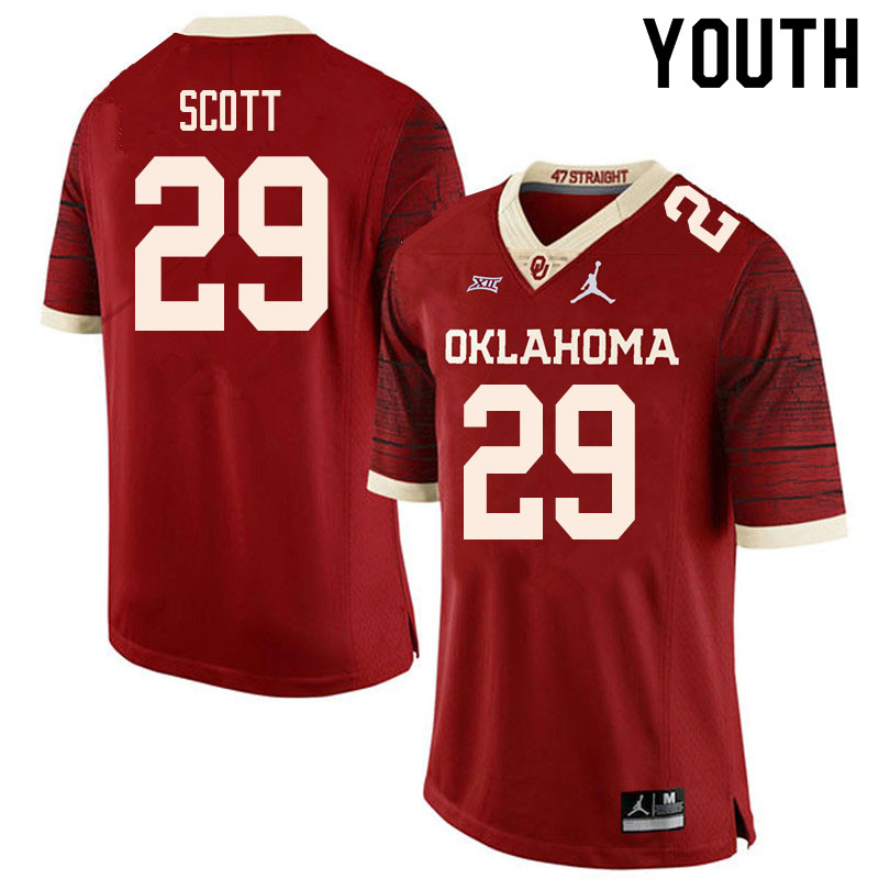 Youth #29 Jaedyn Scott Oklahoma Sooners College Football Jerseys Sale-Retro