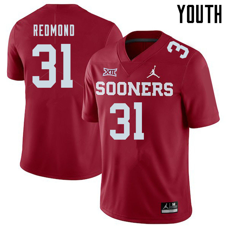 Jordan Brand Youth #31 Jalen Redmond Oklahoma Sooners College Football Jerseys Sale-Crimson