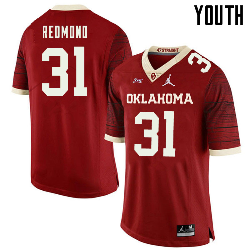 Jordan Brand Youth #31 Jalen Redmond Oklahoma Sooners College Football Jerseys Sale-Retro
