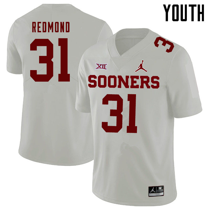 Jordan Brand Youth #31 Jalen Redmond Oklahoma Sooners College Football Jerseys Sale-White