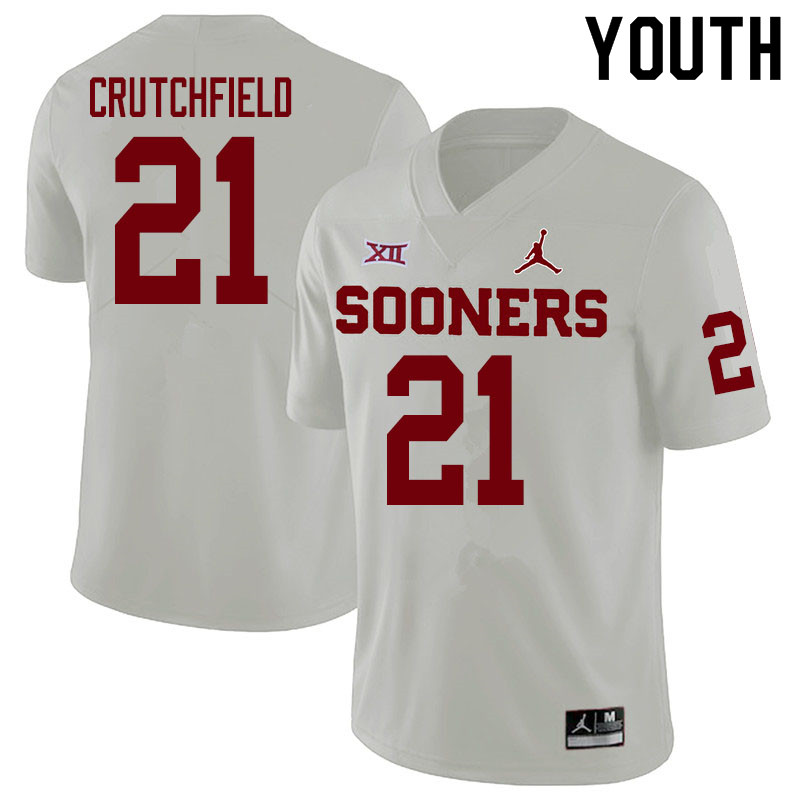 Youth #21 Marcellus Crutchfield Oklahoma Sooners College Football Jerseys Sale-White