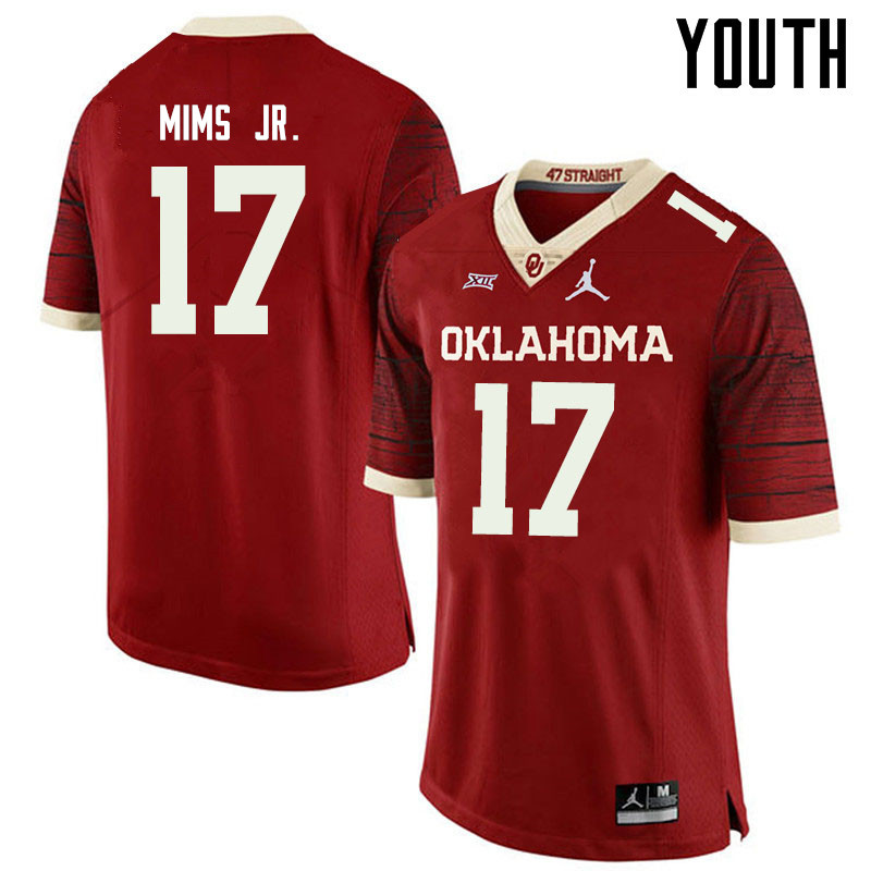 Jordan Brand Youth #17 Marvin Mims Oklahoma Sooners College Football Jerseys Sale-Retro