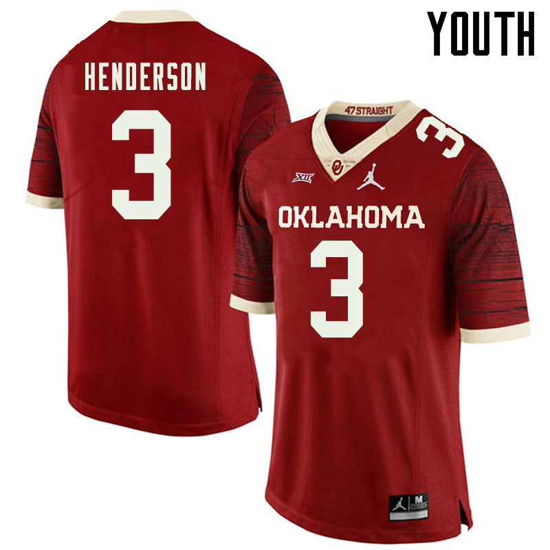 Jordan Brand Youth #3 Mikey Henderson Oklahoma Sooners College Football Jerseys Sale-Retro