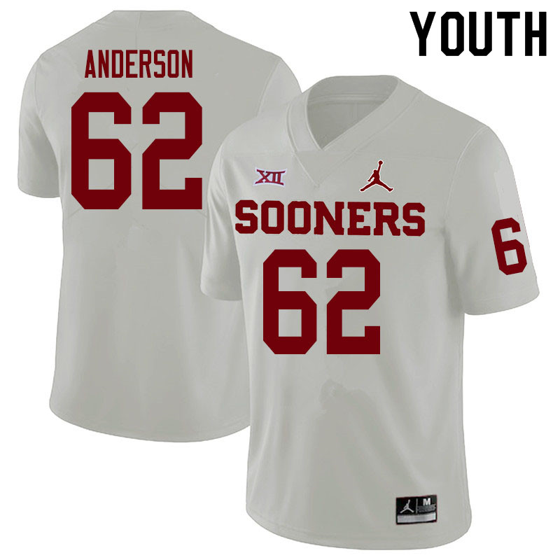 Youth #62 Nate Anderson Oklahoma Sooners College Football Jerseys Sale-White