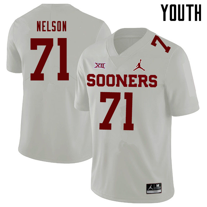 Jordan Brand Youth #71 Noah Nelson Oklahoma Sooners College Football Jerseys Sale-White