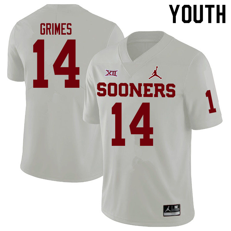 Youth #14 Reggie Grimes Oklahoma Sooners College Football Jerseys Sale-White