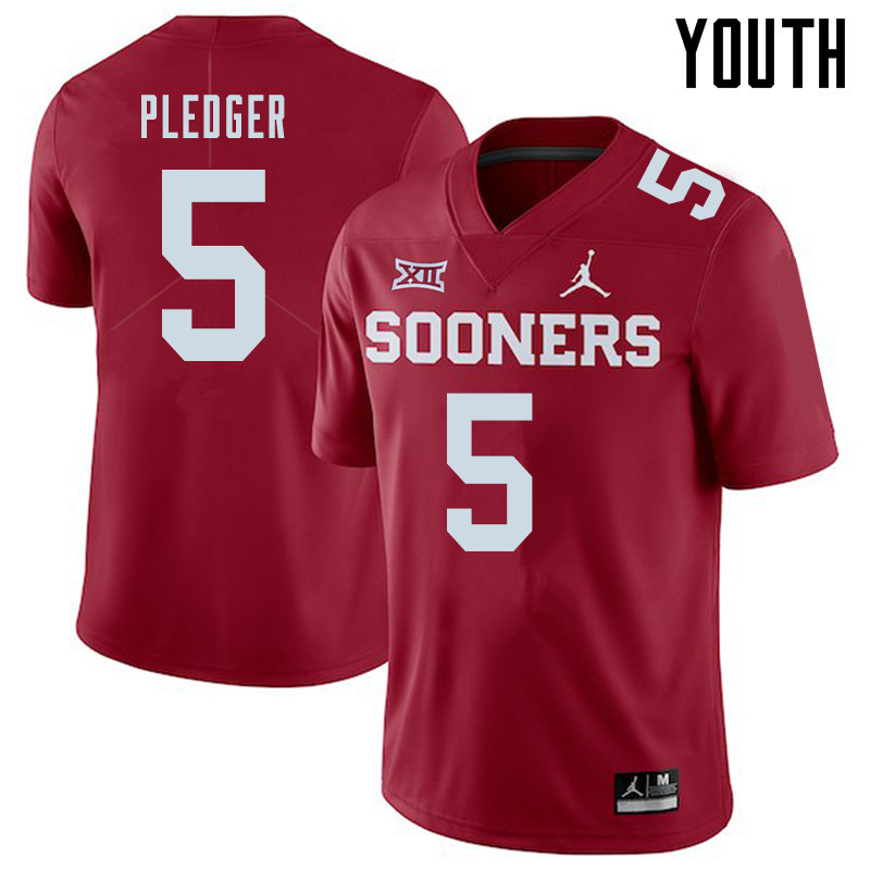 Jordan Brand Youth #5 T.J. Pledger Oklahoma Sooners College Football Jerseys Sale-Crimson
