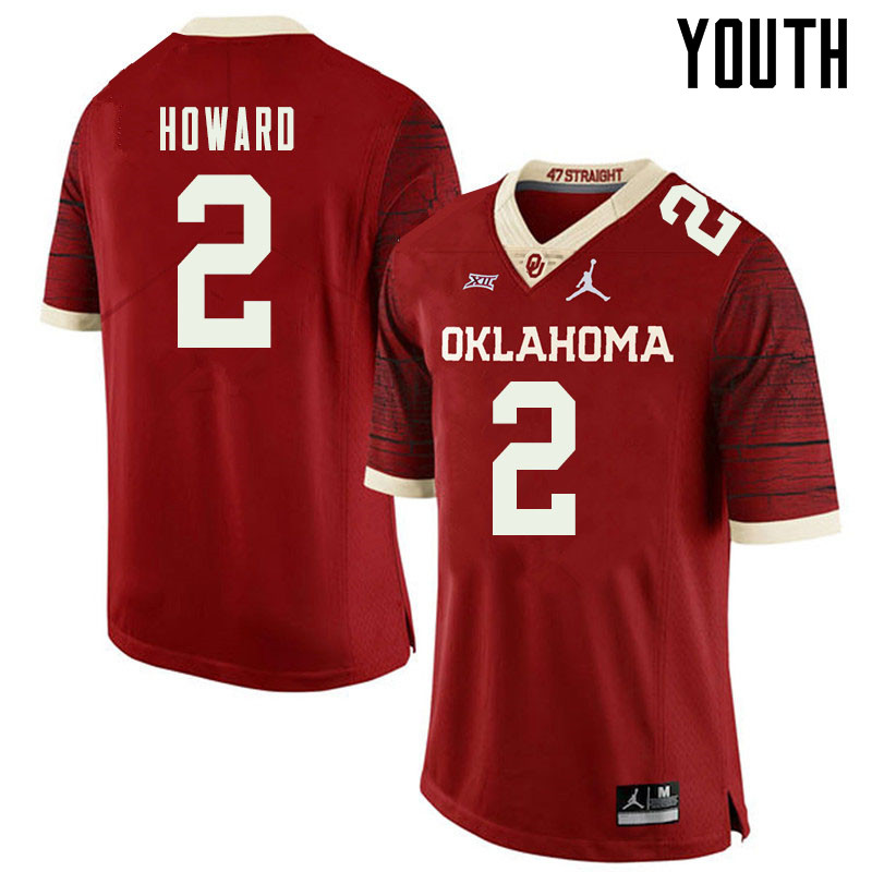 Jordan Brand Youth #2 Theo Howard Oklahoma Sooners College Football Jerseys Sale-Retro