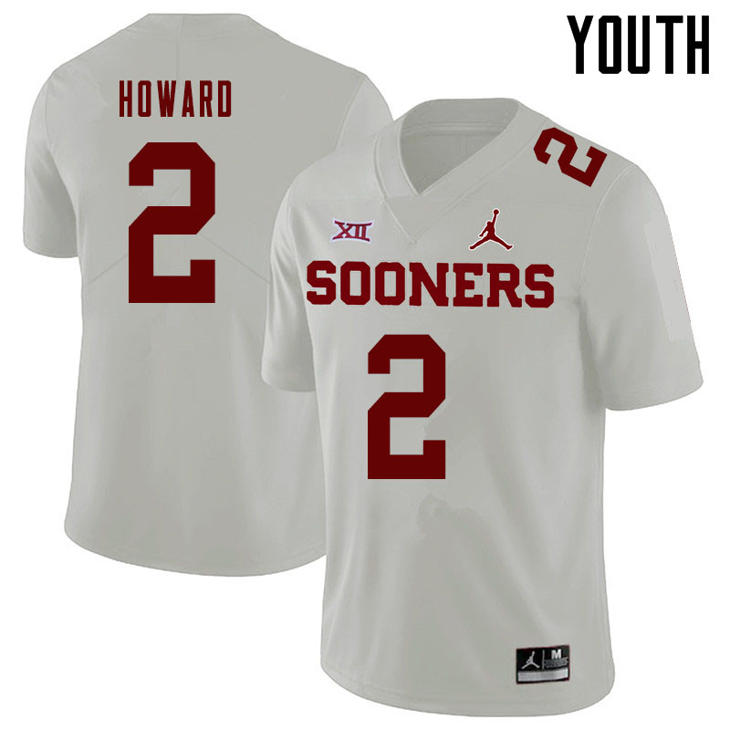 Jordan Brand Youth #2 Theo Howard Oklahoma Sooners College Football Jerseys Sale-White