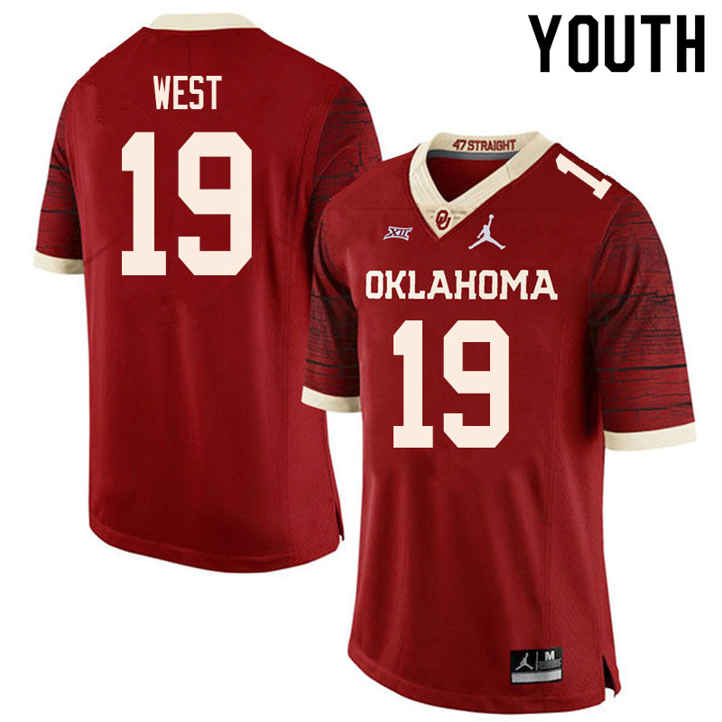 Youth #19 Trevon West Oklahoma Sooners College Football Jerseys Sale-Retro