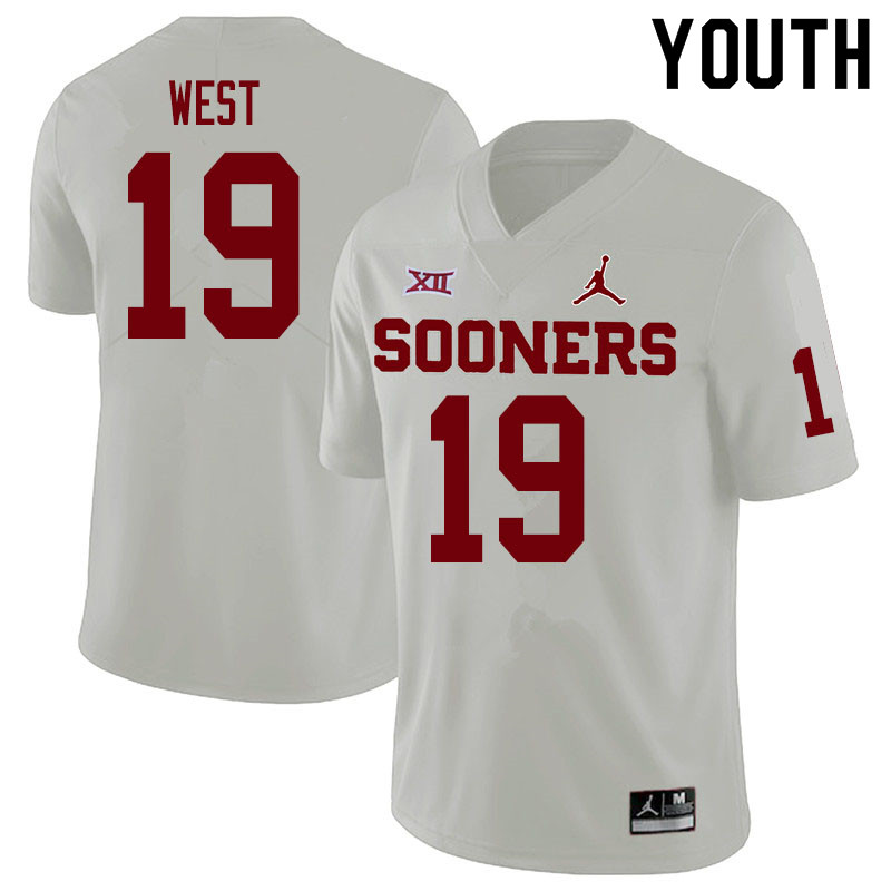 Youth #19 Trevon West Oklahoma Sooners College Football Jerseys Sale-White