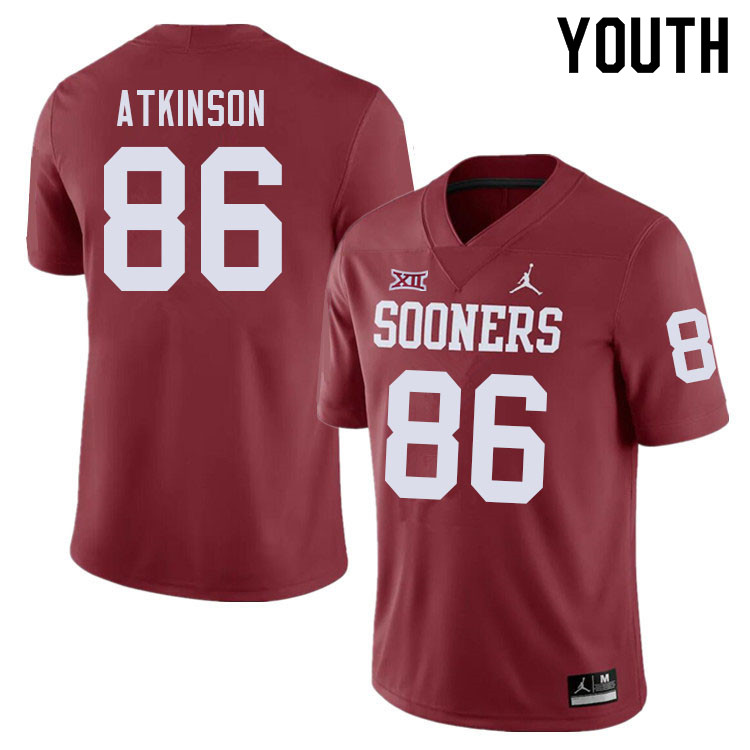 Youth #86 Colt Atkinson Oklahoma Sooners College Football Jerseys Sale-Crimson