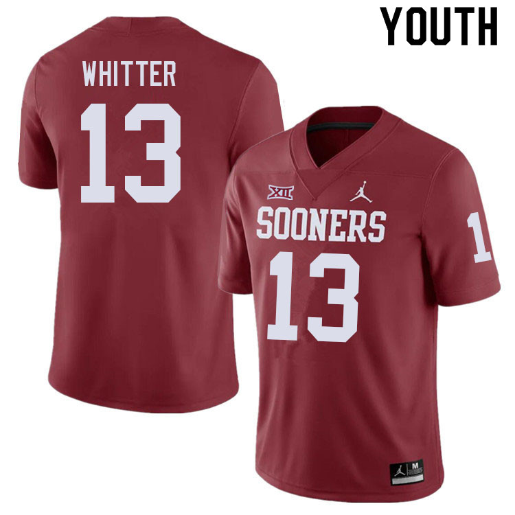 Youth #13 Shane Whitter Oklahoma Sooners College Football Jerseys Sale-Crimson