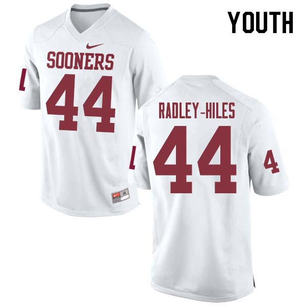Youth #44 Brendan Radley-Hiles Oklahoma Sooners College Football Jerseys Sale-White