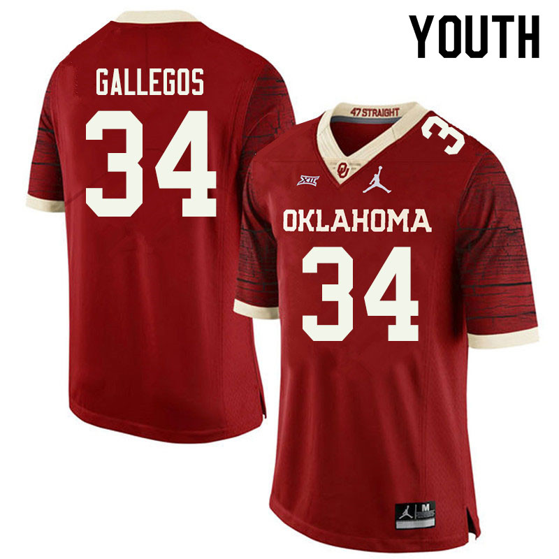 Jordan Brand Youth #34 Eric Gallegos Oklahoma Sooners College Football Jerseys Sale-Retro
