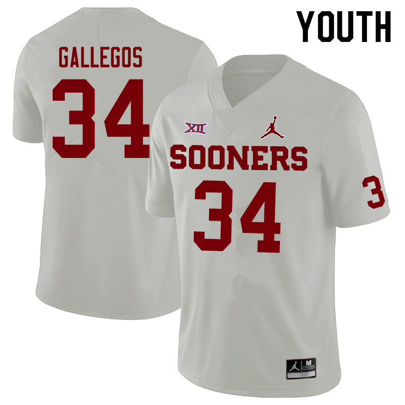 Jordan Brand Youth #34 Eric Gallegos Oklahoma Sooners College Football Jerseys Sale-White