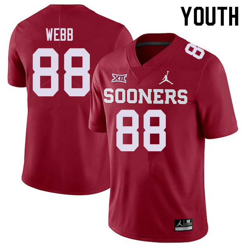 Jordan Brand Youth #88 Jackson Webb Oklahoma Sooners College Football Jerseys Sale-Crimson