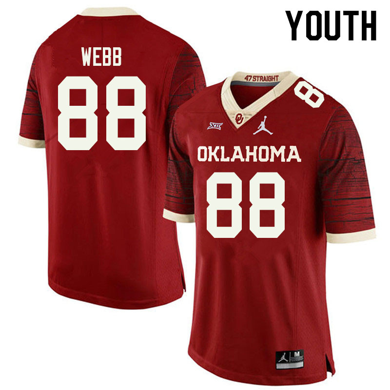 Jordan Brand Youth #88 Jackson Webb Oklahoma Sooners College Football Jerseys Sale-Retro