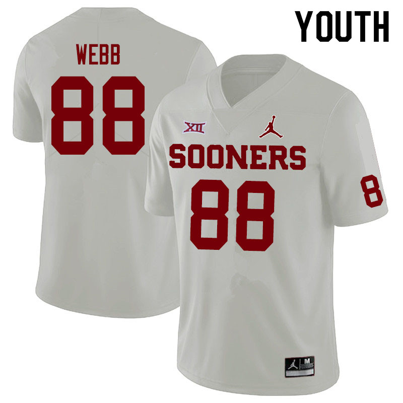 Jordan Brand Youth #88 Jackson Webb Oklahoma Sooners College Football Jerseys Sale-White