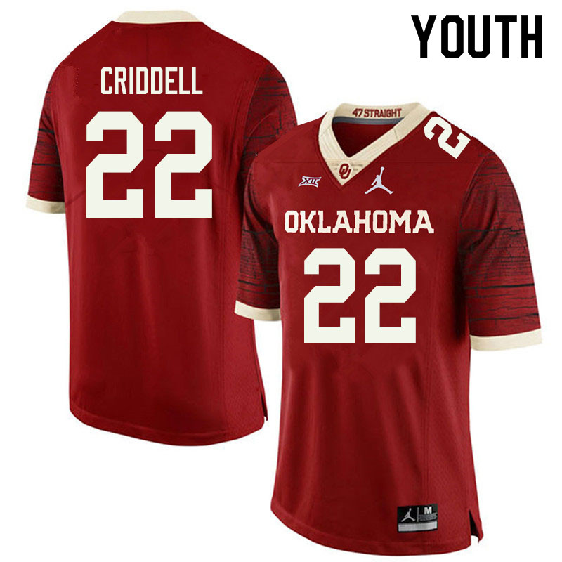 Jordan Brand Youth #22 Jeremiah Criddell Oklahoma Sooners College Football Jerseys Sale-Retro