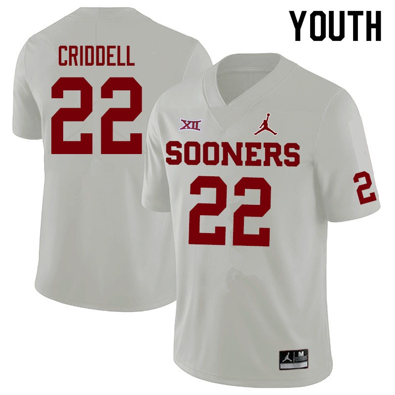 Jordan Brand Youth #22 Jeremiah Criddell Oklahoma Sooners College Football Jerseys Sale-White