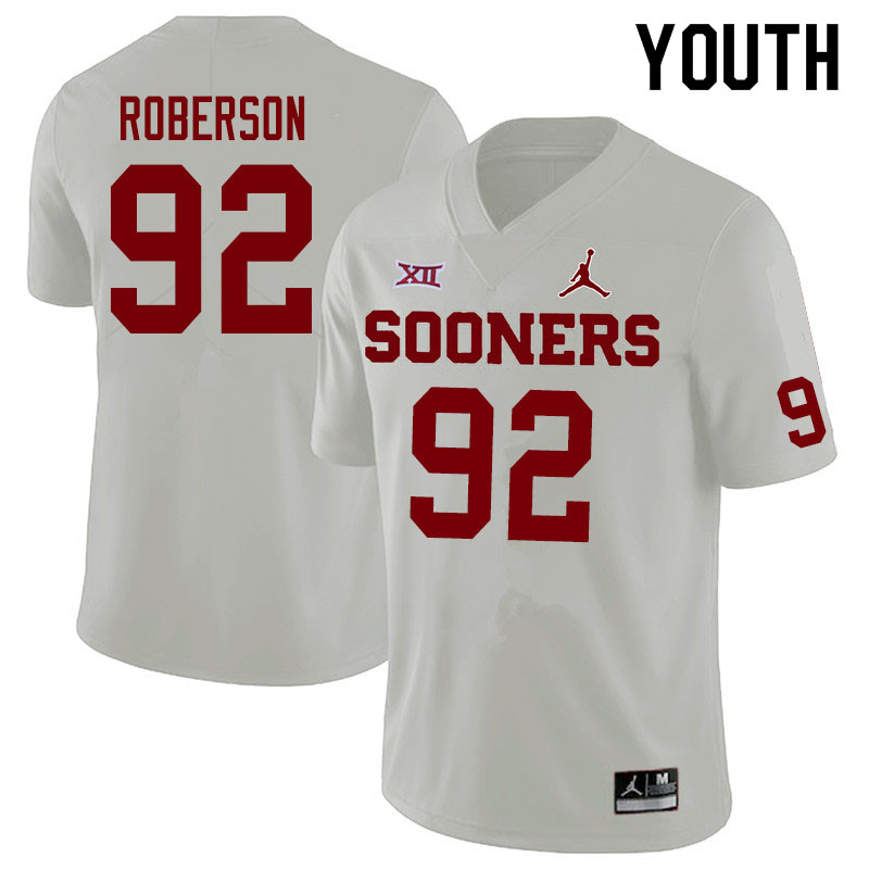 Jordan Brand Youth #92 Kori Roberson Oklahoma Sooners College Football Jerseys Sale-White
