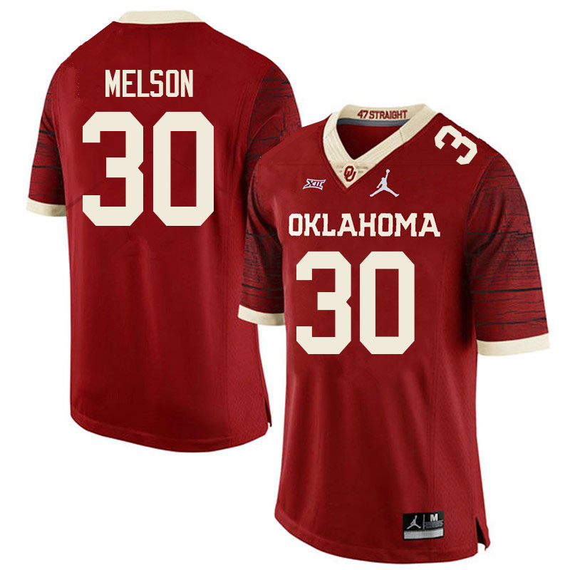 Youth #30 Major Melson Oklahoma Sooners College Football Jerseys Sale-Retro