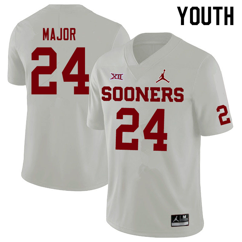 Jordan Brand Youth #24 Marcus Major Oklahoma Sooners College Football Jerseys Sale-White