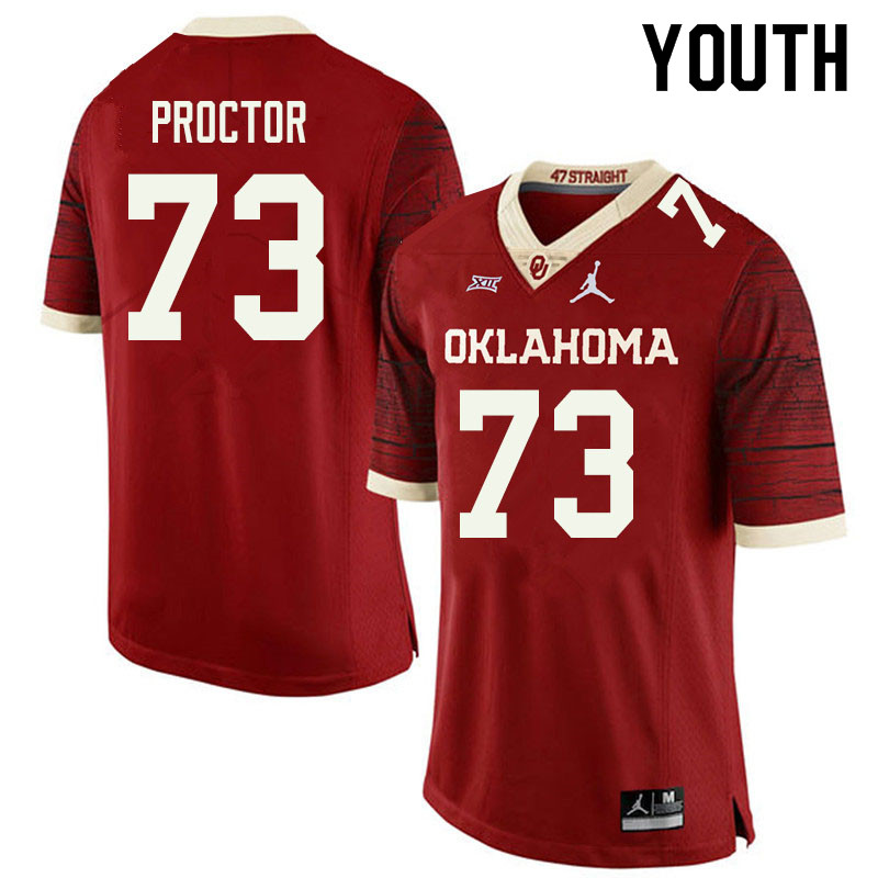 Jordan Brand Youth #73 R.J. Proctor Oklahoma Sooners College Football Jerseys Sale-Retro