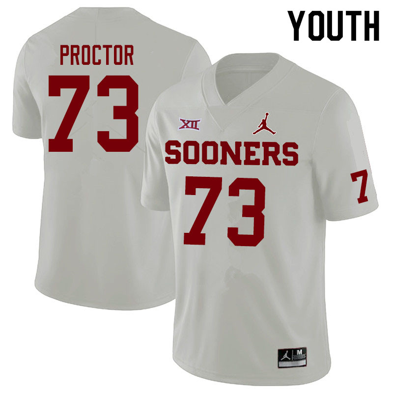 Jordan Brand Youth #73 R.J. Proctor Oklahoma Sooners College Football Jerseys Sale-White