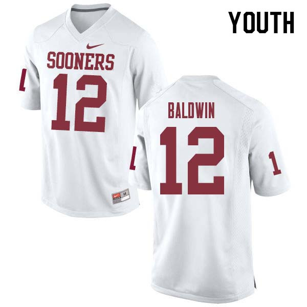 Youth #12 Starrland Baldwin Oklahoma Sooners College Football Jerseys Sale-White